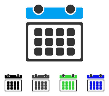 Calendar Month flat vector icon. Colored calendar month gray, black, blue, green icon variants. Flat icon style for application design. Illustration