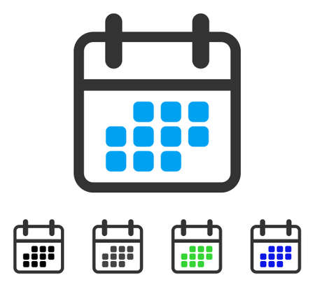 Calendar Month flat vector pictogram. Colored calendar month gray, black, blue, green pictogram versions. Flat icon style for graphic design. Illustration