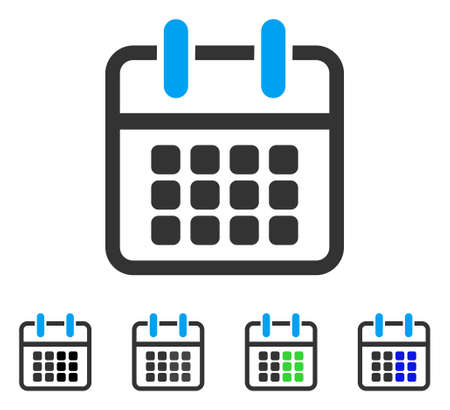 Calendar Poster flat vector illustration. Colored calendar poster gray, black, blue, green icon versions. Flat icon style for graphic design.