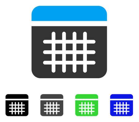 Calendar flat vector illustration. Colored calendar gray, black, blue, green icon versions. Flat icon style for graphic design. Illustration