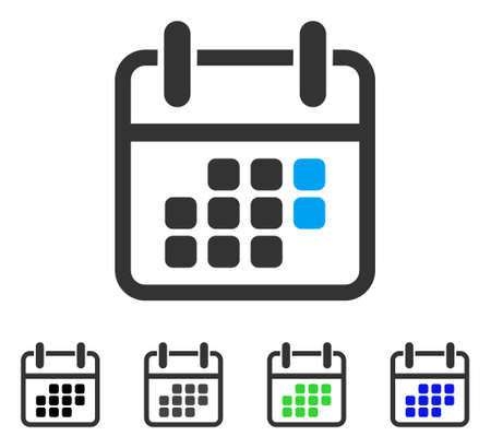 Calendar Weekend flat vector pictogram. Colored calendar weekend gray, black, blue, green pictogram variants. Flat icon style for graphic design. Illustration