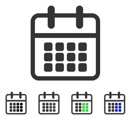 Calendar flat vector icon. Colored calendar gray, black, blue, green icon versions. Flat icon style for graphic design.