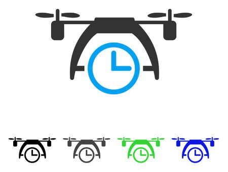 clock radio: Drone Clock flat vector pictograph. Colored drone clock gray, black, blue, green pictogram versions. Flat icon style for web design.