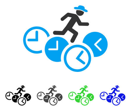 Gentleman Running Over Clocks flat vector illustration. Colored gentleman running over clocks gray, black, blue, green pictogram versions. Flat icon style for application design.