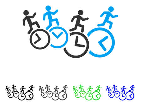 profile measurement: Men Running Over Clocks flat vector icon. Colored men running over clocks gray, black, blue, green icon variants. Flat icon style for web design.