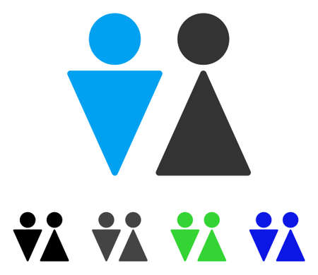 WC Persons flat vector pictograph. Colored wc persons gray, black, blue, green pictogram versions. Flat icon style for web design.