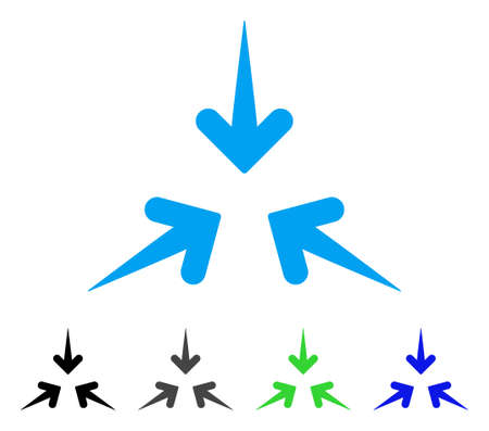 Impact Arrows flat vector pictogram. Colored impact arrows gray, black, blue, green icon versions. Flat icon style for application design.