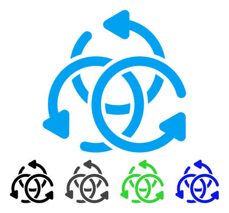 complex navigation: Knot Rotation flat vector pictogram. Colored knot rotation gray, black, blue, green icon variants. Flat icon style for graphic design.