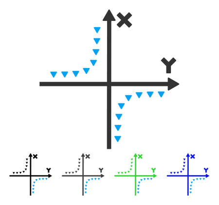 plot: Dotted Hyperbola Plot flat vector illustration. Colored dotted hyperbola plot gray, black, blue, green icon versions. Flat icon style for application design. Illustration