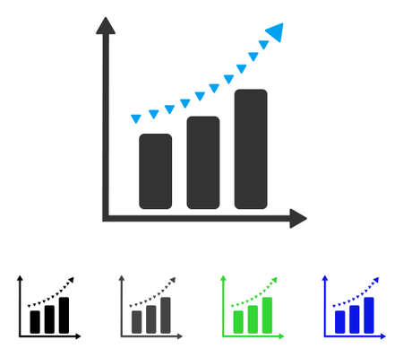 plot: Dotted Positive Trend flat vector illustration. Colored dotted positive trend gray, black, blue, green pictogram variants. Flat icon style for web design. Illustration