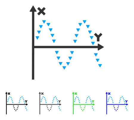 alternating current: Dotted Sine Plot flat vector pictogram. Colored dotted sine plot gray, black, blue, green icon versions. Flat icon style for web design.