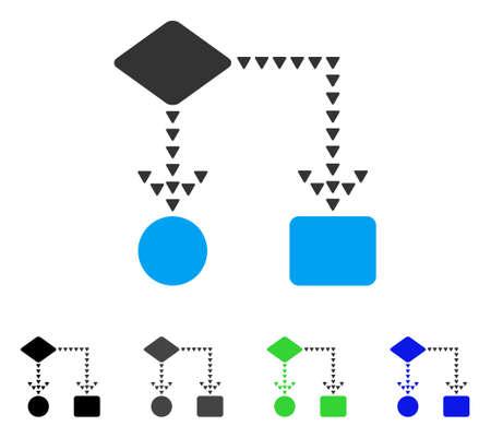 mapa de procesos: Algorithm Flowchart flat vector illustration. Colored algorithm flowchart gray, black, blue, green pictogram variants. Flat icon style for graphic design. Vectores