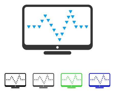 to pulsate: Monitor Dotted Pulse flat vector pictograph. Colored monitor dotted pulse gray, black, blue, green icon variants. Flat icon style for graphic design.