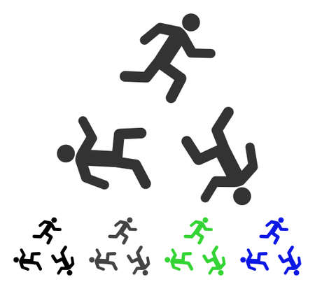 concurrent: Running Men flat vector pictogram. Colored running men gray, black, blue, green icon variants. Flat icon style for graphic design.