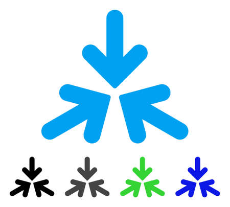 shrink: Triple collide arrows flat pictograph.
