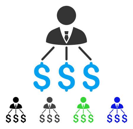 Businessman expenses flat pictograph.