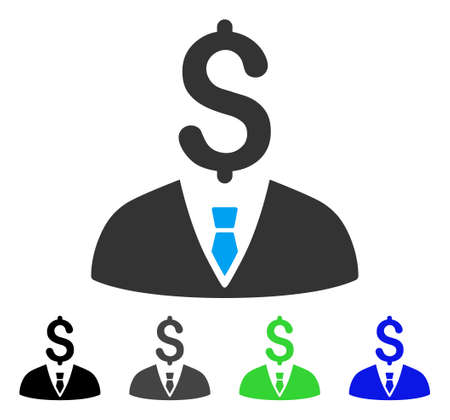 Businessman flat vector pictograph. Colored businessman gray, black, blue, green icon versions. Flat icon style for application design. Illustration