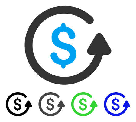 Chargeback flat vector pictograph. Colored chargeback gray, black, blue, green pictogram variants. Flat icon style for graphic design.