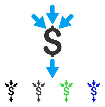 takings: Combine Payments flat vector pictogram. Colored combine payments gray, black, blue, green icon versions. Flat icon style for application design.