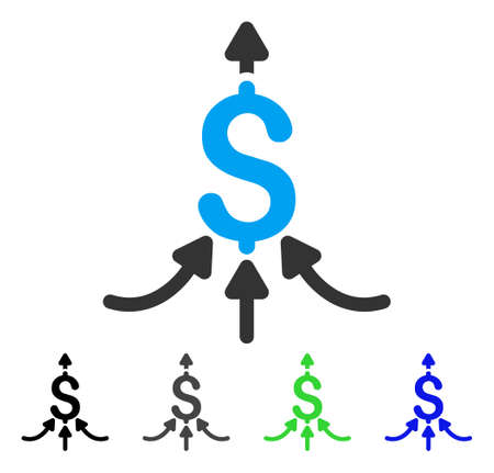 takings: Financial Aggregator flat vector pictograph. Colored financial aggregator gray, black, blue, green pictogram variants. Flat icon style for graphic design.