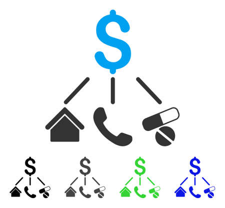 Life Expenses flat vector pictogram. Colored life expenses gray, black, blue, green pictogram versions. Flat icon style for graphic design. Illustration