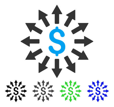Money Distribution flat vector illustration. Colored money distribution gray, black, blue, green pictogram variants. Flat icon style for graphic design. Illustration