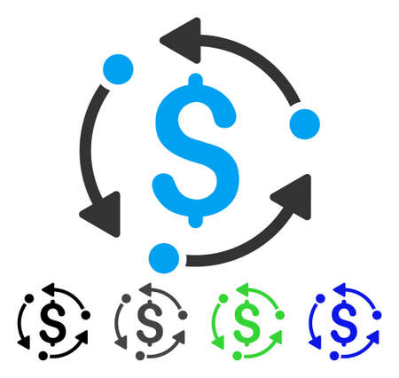 Money Rotation flat vector icon. Colored money rotation gray, black, blue, green pictogram versions. Flat icon style for application design. Illustration