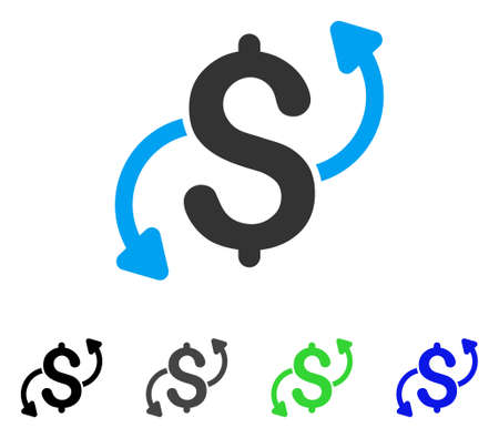 Money Transfer flat vector illustration. Colored money transfer gray, black, blue, green pictogram versions. Flat icon style for application design.