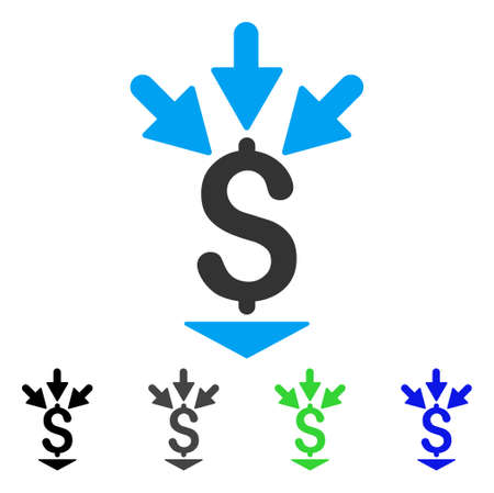 Integrate Payment flat vector pictogram. Colored integrate payment gray, black, blue, green icon variants. Flat icon style for application design. Illustration