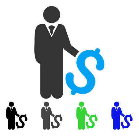 Investor flat vector pictogram. Colored investor gray, black, blue, green pictogram versions. Flat icon style for application design.