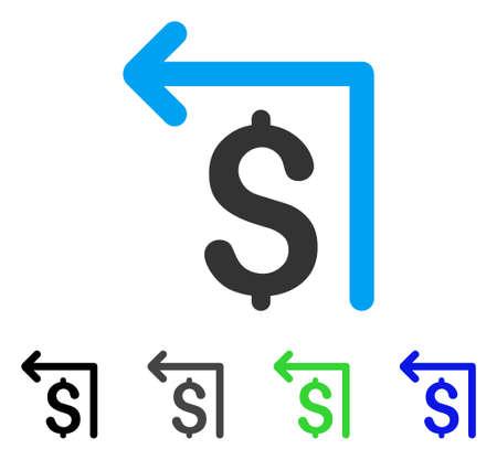 マネーバック ・ フラット ベクトル絵文字。色のマネーバック ・灰色、黒、青、緑のアイコンの亜種。アプリケーション設計のフラット アイコン