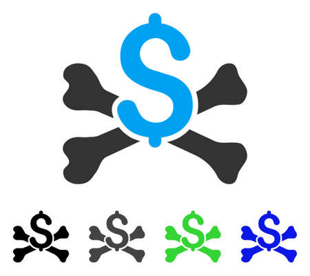 piracy: Mortal Debt flat vector pictograph. Colored mortal debt gray, black, blue, green pictogram versions. Flat icon style for application design. Illustration