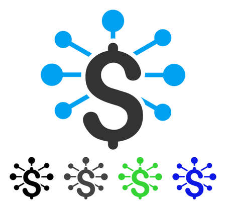Relaciones financieras ilustración vectorial plana. Coloridas relaciones financieras gris, negro, azul, verde variantes de pictograma. Estilo de iconos planos para el diseño de aplicaciones.