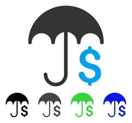 Finanz-Regenschirm flache Vektor-Symbol. Farbige finanzielle Regenschirm grau, schwarz, blau, grün-Symbol-Versionen. Flache Icon-Stil für Grafik-Design.