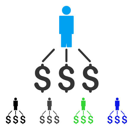 expenses: Person Expenses flat vector pictogram. Colored person expenses gray, black, blue, green pictogram versions. Flat icon style for web design.