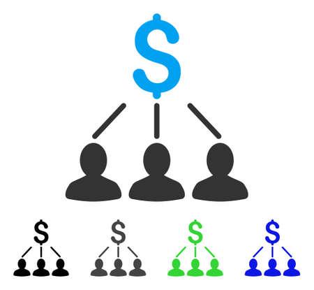 Shareholders flat vector illustration. Colored shareholders gray, black, blue, green pictogram variants. Flat icon style for application design.