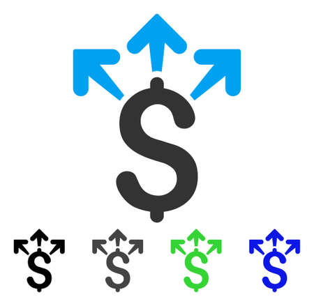 Spend Money flat vector pictogram. Colored spend money gray, black, blue, green pictogram variants. Flat icon style for graphic design.