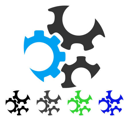 Mechanics Gears flat vector icon. Colored mechanics gears gray, black, blue, green icon versions. Flat icon style for graphic design. Illustration