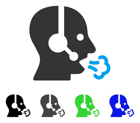 Operator Speech flat vector illustration. Colored operator speech gray, black, blue, green pictogram versions. Flat icon style for graphic design.