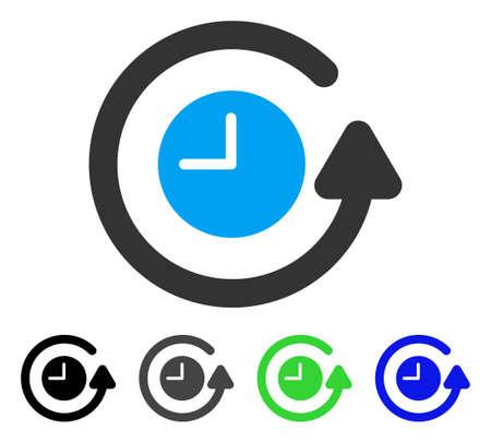 Restore Clock flat vector pictogram. Colored restore clock gray, black, blue, green pictogram versions. Flat icon style for application design.
