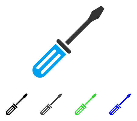 Screwdriver flat vector icon. Colored screwdriver gray, black, blue, green pictogram variants. Flat icon style for application design.
