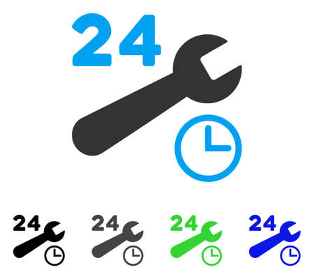 setup: Service Hours flat vector illustration. Colored service hours gray, black, blue, green pictogram versions. Flat icon style for web design. Illustration