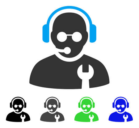 hotline: Service Operator flat vector icon. Colored service operator gray, black, blue, green pictogram variants. Flat icon style for application design.