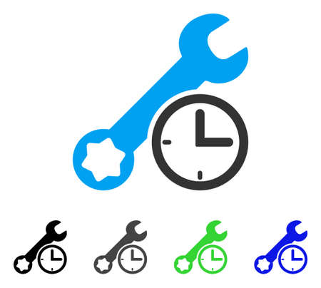 Service Time flat vector pictogram. Colored service time gray, black, blue, green icon variants. Flat icon style for web design.