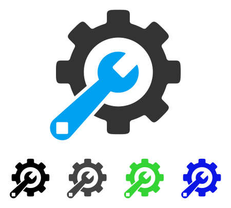 Service Tools flat vector icon. Colored service tools gray, black, blue, green icon variants. Flat icon style for graphic design.