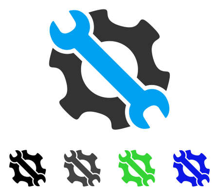 setup: Service Tools flat vector pictograph. Colored service tools gray, black, blue, green pictogram versions. Flat icon style for web design.