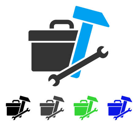 setup: Toolbox flat vector icon. Colored toolbox gray, black, blue, green pictogram variants. Flat icon style for application design.