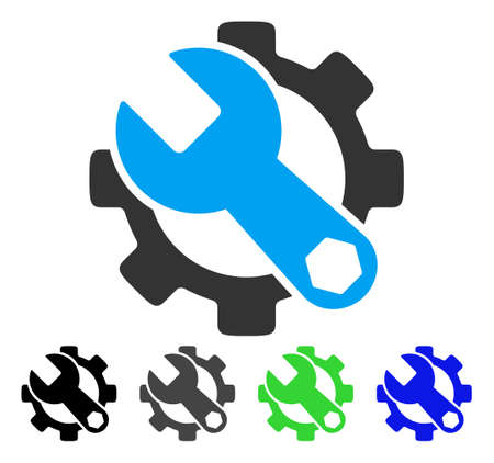 setup: Service Tools flat vector pictogram. Colored service tools gray, black, blue, green icon versions. Flat icon style for graphic design.