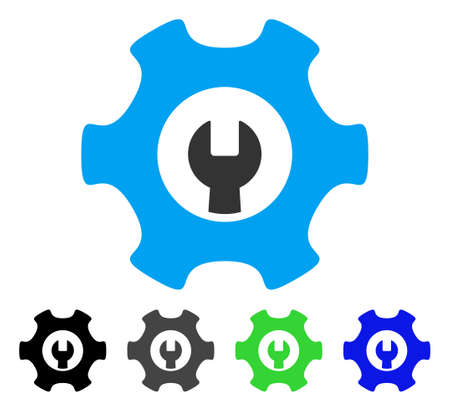 Service Tools flat vector illustration. Colored service tools gray, black, blue, green pictogram versions. Flat icon style for application design.