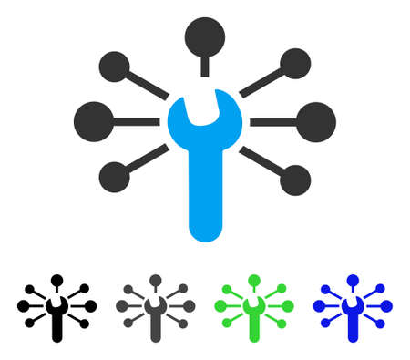 hyperlink: Service Wrench Relations flat vector pictogram. Colored service wrench relations gray, black, blue, green pictogram variants. Flat icon style for graphic design. Illustration